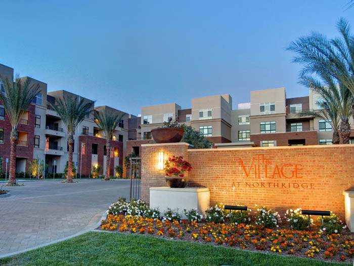 Entrance to assisted living community california The Village at NorthRidge
