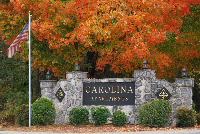 Apartments in Carrboro, NC sign