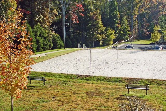 volleyball court at The Crossings at Short Pump Richmond Apartments