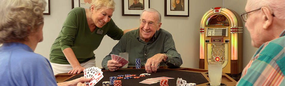 Residents enjoy fun, social activities in the Garden View Care Center game room.