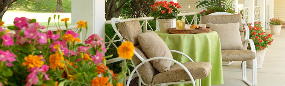 Relax in our Garden View Care Center's nicely landscaped patios.