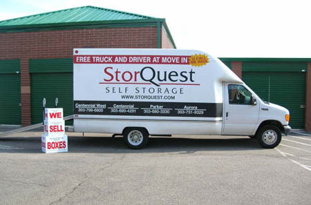 moving truck at StorQuest, free use at move in!