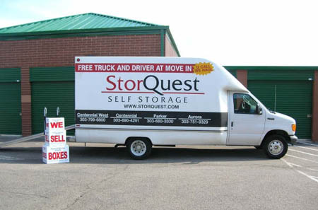 Free moving truck with move-in at self storage in Centennial