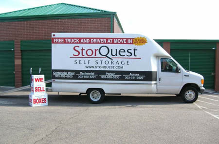 Moving trucks are available for rent at self storage in Centennial, CO