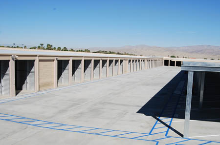 Drive up storage units at Indio storage facility