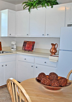 The kitchen at Foxchase apartments in Richmond
