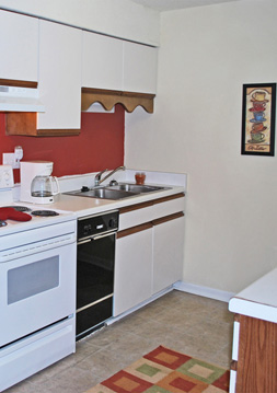 Kitchen at affordable Duke Manor apartments