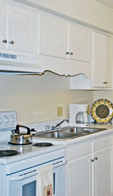 Kitchen at durham nc apartments has modern upgrades.