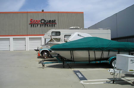 Boat storage at our Torrance storage facility