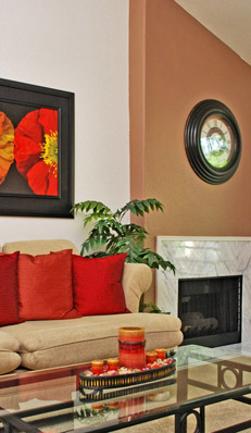 living room with vaulted ceilings at Henderson Apartment Rentals