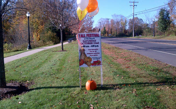 Community fall festival street sign The Hearth at Southbury