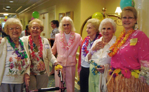 Female residents love their leis The Hearth at Southbury