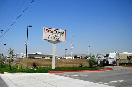 StorQuest RV Storage sign in Moreno Valley, CA 92555