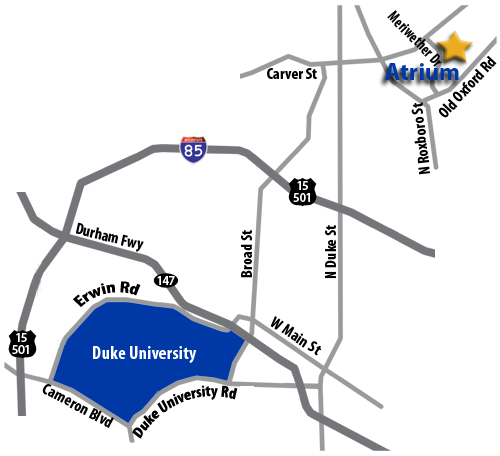 Directions from Atrium to Duke.
