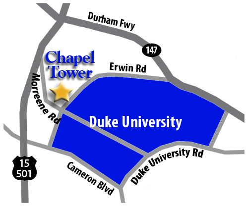 Directions from Chapel Tower to Duke.