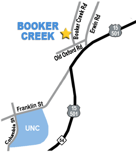 Directions from Booker Creek Townhouse Apartments to UNC.