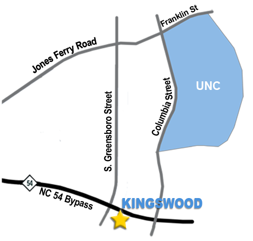 Directions from Kingswood to University of North Carolina.