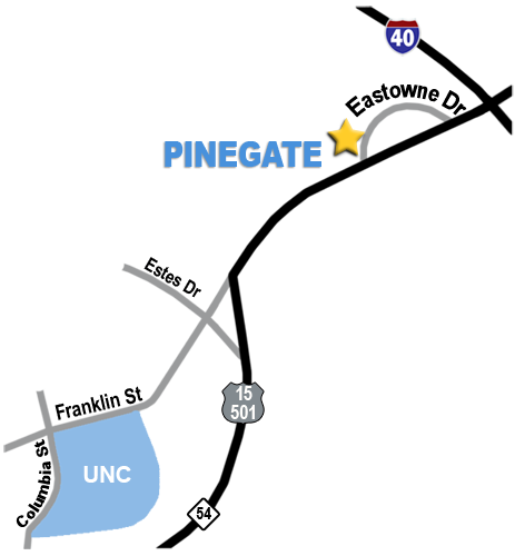 Directions from PineGate to UNC.