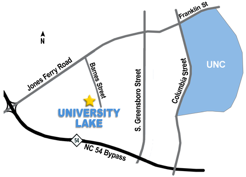 Directions from University Lake to UNC.