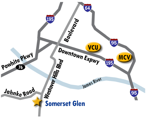 Directions from Somerset Glen to VCU.