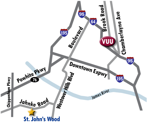 Directions from St. John's Wood to VCU.