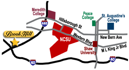 Directions from Brook Hill Townhouse Apartments to NC State.