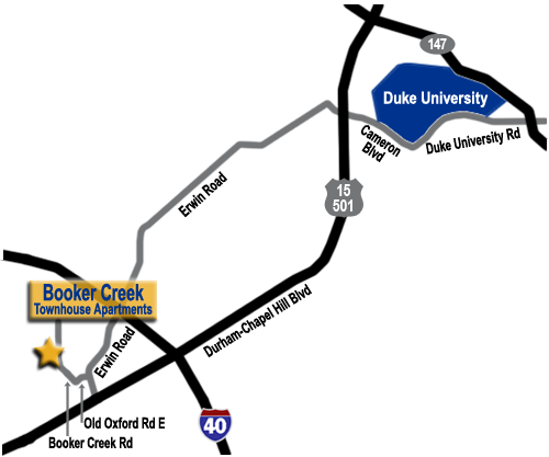 Directions from Booker Creek Townhouse Apartments to Duke.
