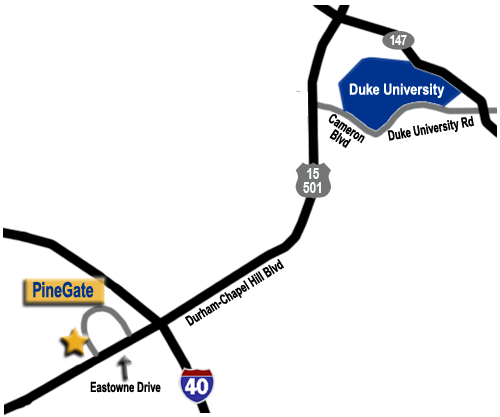 Directions from PineGate to Duke University.