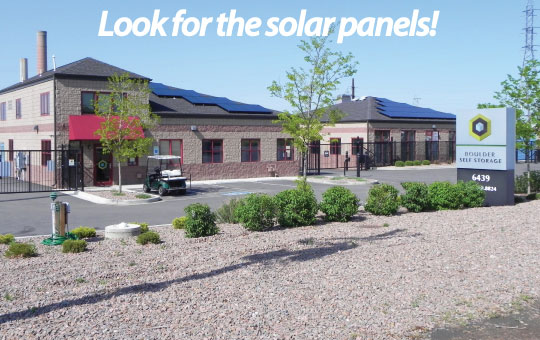 Look for solar panels Boulder Self Storage