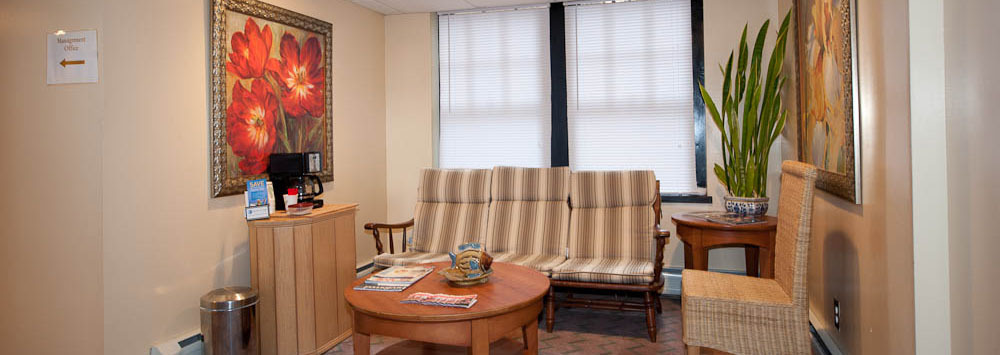 Reception area at our apartments for rent in Bridgeport, CT 06604