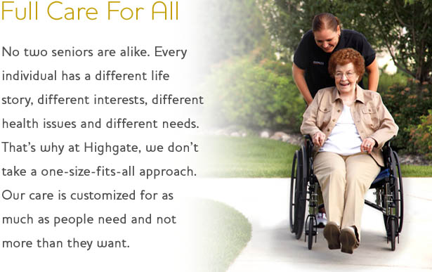 Full senior care with Highgate Senior Living