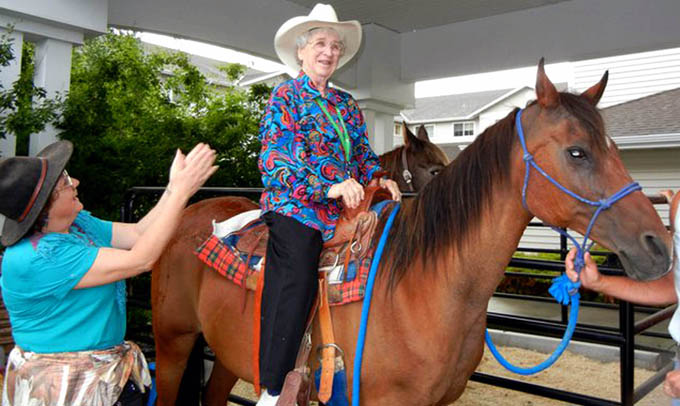 Care horseback riding Highgate Senior Living