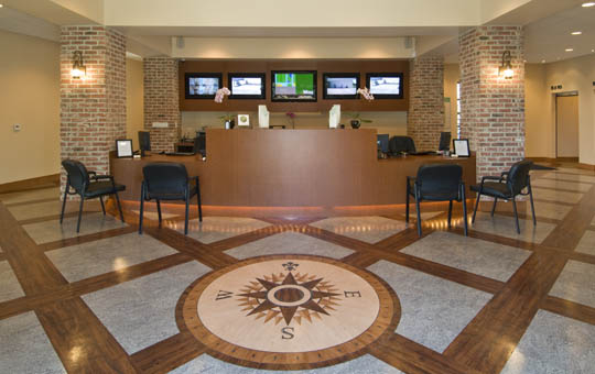 The beautiful front desk and lobby area at Magellan Self Storage