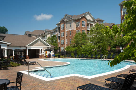 Resort style swimming pool at Park Place at Van Dorn apartments