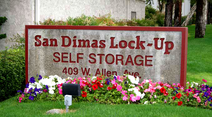 Entry sign to Lock-Up Self Storage in San Dimas, CA
