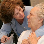 Silverado Assisted Living nurs talking with resident