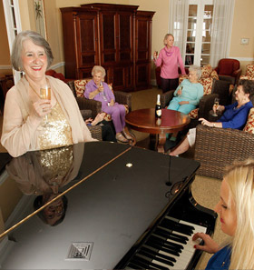 Happy assisted living residents at  in