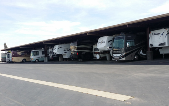Self storage in Elk Grove has covered RV parking