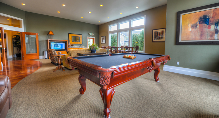 Pool table in clubhouse at Puyallup apartments