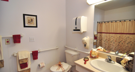 Model bathroom at Acadia Assisted Living