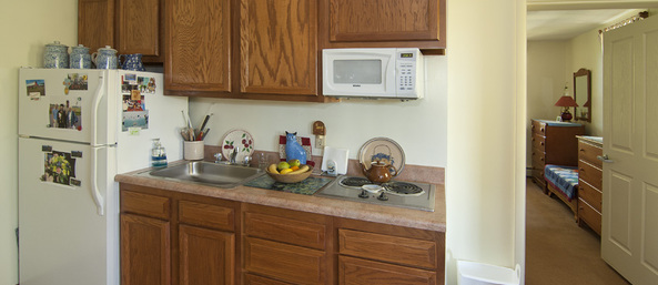 Kitchen Saranac Village at Will Rogers - Independent Living