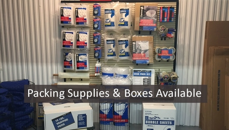 West packing supplies with text wide