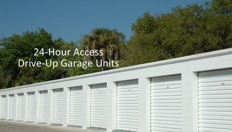 24 hour access drive up garage units