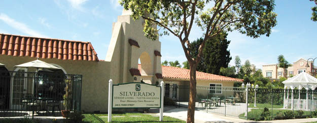 Entrance to Silverado memory care facility in Tustin California