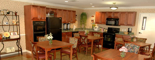 Kitchen of Silverado assisted senior living center in Tustin CA
