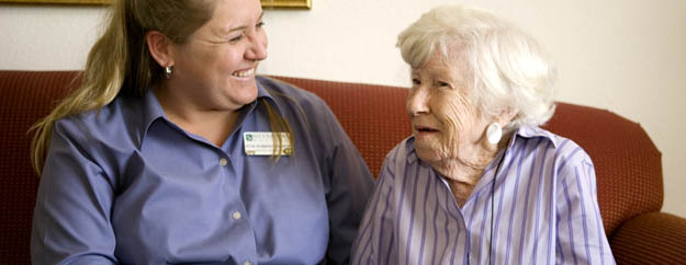 Caregiver with hospice resident in Silverado palliative care in Salt Lake City Utah