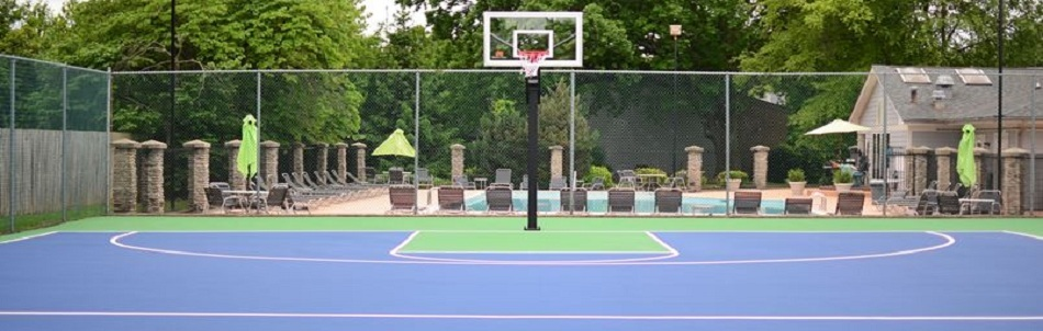 Basketball court and pool