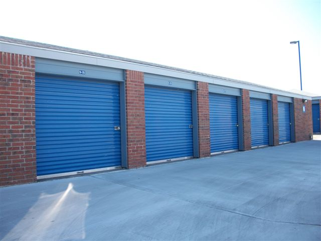 blue doors locking outside Security Self Storage