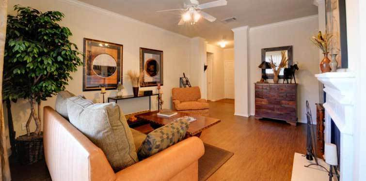 Living room with fireplace Marquis at Lantana