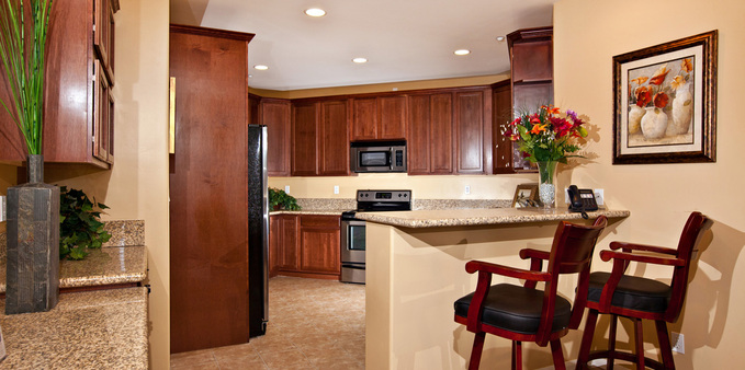 A unit kitchen Plaza Village Senior Living